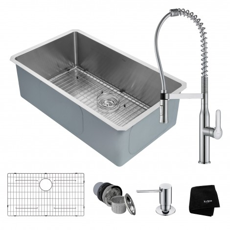 KRAUS Kitchen Combo with Handmade Undermount Stainless Steel 32 in. Single Bowl 16 Gauge Kitchen Sink and Nola™ Commercial Kitchen Faucet with Soap Dispenser
