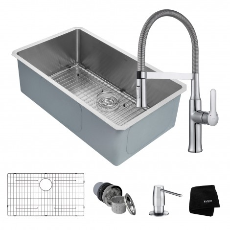 KRAUS Kitchen Combo with Handmade Undermount Stainless Steel 32 in. Single Bowl 16 Gauge Kitchen Sink and Nola™ Single Handle Flex Commercial Kitchen Faucet with Soap Dispenser in Chrome