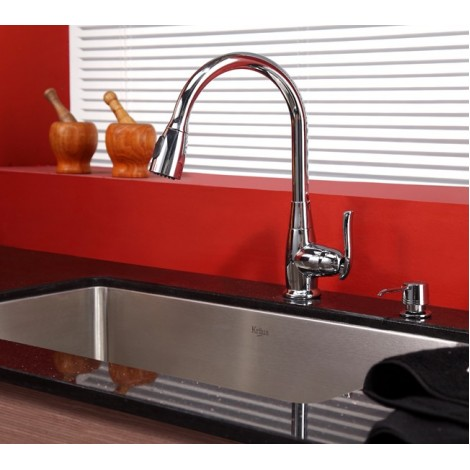 KRAUS 30 Inch Undermount Single Bowl 16 Gauge Stainless Steel Kitchen Sink with Kitchen Faucet and Soap Dispenser