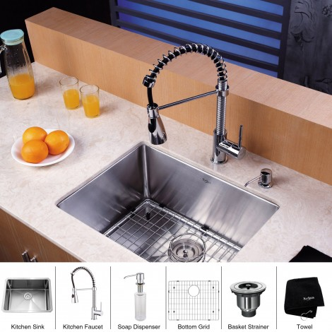 KRAUS 23 Inch Undermount Single Bowl 16 Gauge Stainless Steel Kitchen Sink with Kitchen Faucet and Soap Dispenser