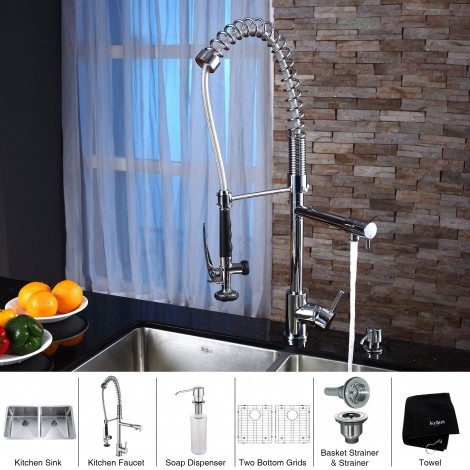 KRAUS 33 Inch Undermount 50/50 Double Bowl 16 Gauge Stainless Steel Kitchen Sink with Kitchen Faucet and Soap Dispenser