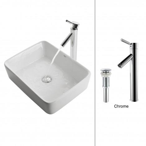 White Square Ceramic Sink and Sheven Faucet