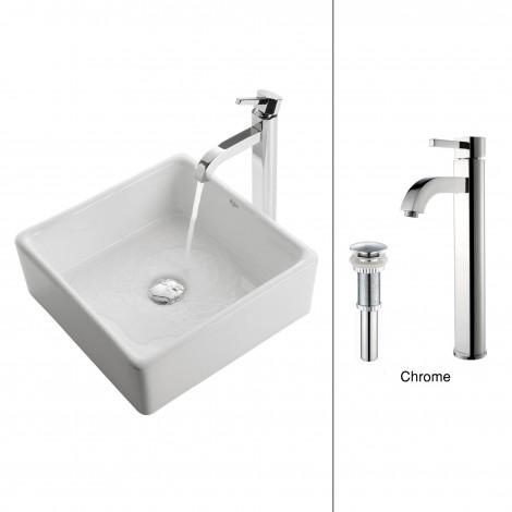 White Square Ceramic Sink and Ramus Faucet