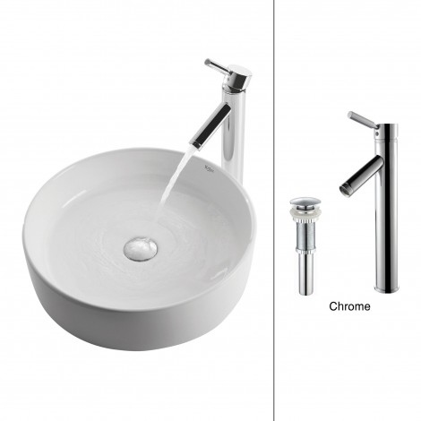 White Round Ceramic Sink and Sheven Faucet