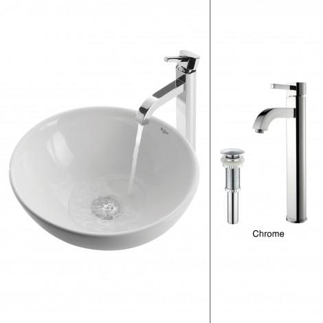 White Round Ceramic Sink and Ramus Faucet