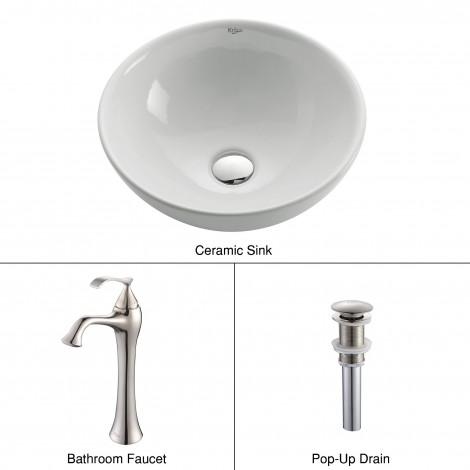 White Round Ceramic Sink and Ventus Faucet