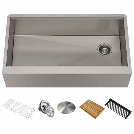 "Workstation 36"" Apron Front 16 Gauge Stainless Steel Single Bowl Kitchen Sink"