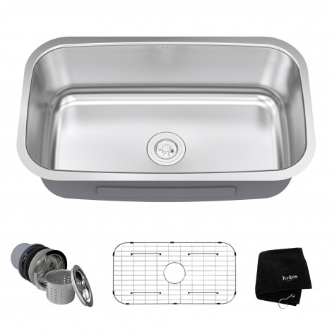 KRAUS 31 Inch Undermount Single Bowl 16 Gauge Stainless Steel Kitchen Sink with NoiseDefend™Soundproofing
