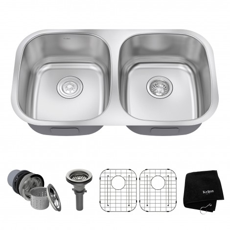 KRAUS 32 Inch Undermount 50/50 Double Bowl 16 Gauge Stainless Steel Kitchen Sink with NoiseDefend™Soundproofing