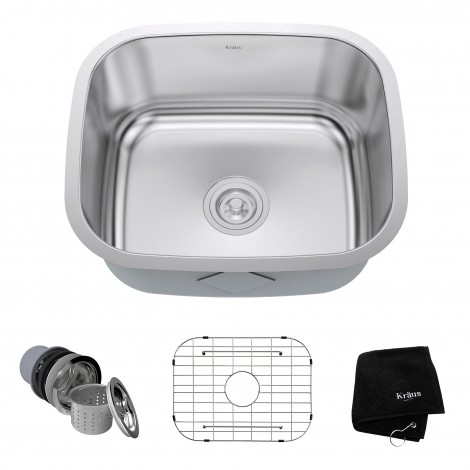 KRAUS 20 Inch Undermount Single Bowl 16 Gauge Stainless Steel Kitchen Sink with NoiseDefend™Soundproofing