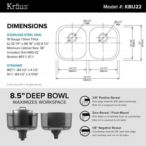 KBU22 Кухонная мойка серии Premier