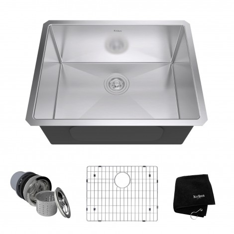KRAUS 23 Inch Undermount Single Bowl 16 Gauge Stainless Steel Kitchen Sink with NoiseDefend™Soundproofing