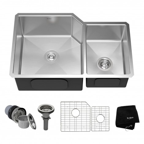 KRAUS 32 Inch Undermount 60/40 Double Bowl 16 Gauge Stainless Steel Kitchen Sink with NoiseDefend™ Soundproofing
