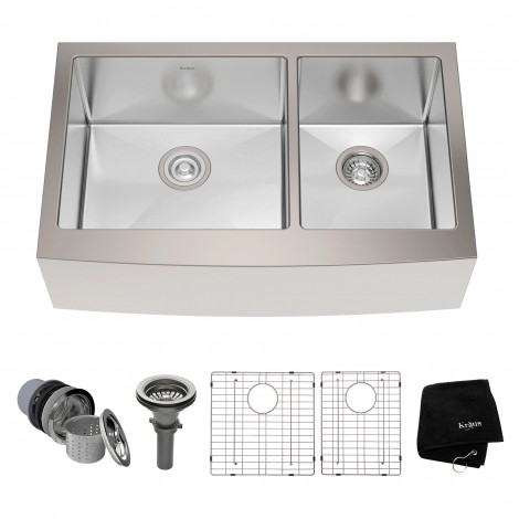 KRAUS 33 Inch Farmhouse Double Bowl Stainless Steel Kitchen Sink with NoiseDefend™ Soundproofing