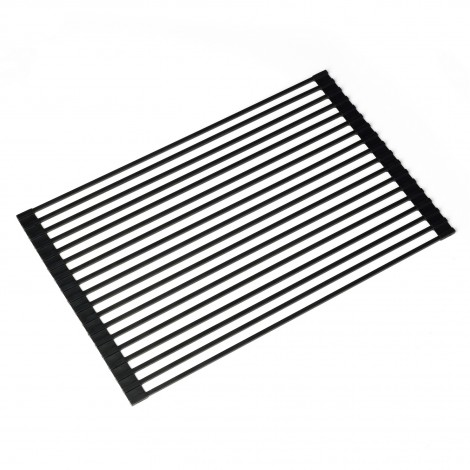 KRAUS Multipurpose Over Sink Roll-Up Dish Drying Rack in Black