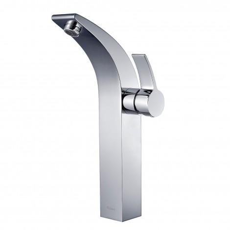 Discontinued-KRAUS Illusio Single Hole Single-Handle Vessel Bathroom Faucet in Chrome