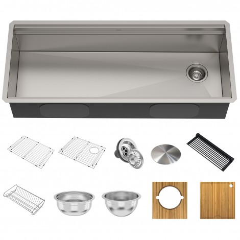 "Workstation 45"" Undermount 2-Tier 16 Gauge Stainless Steel Single Bowl Kitchen Sink"
