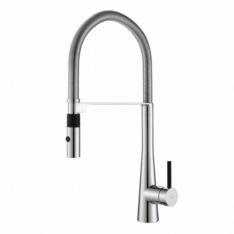 Disontinued - KRAUS Crespo™ Single Handle Commercial Kitchen Faucet with Flex Hose and QuickDock Installation and Deck Plate