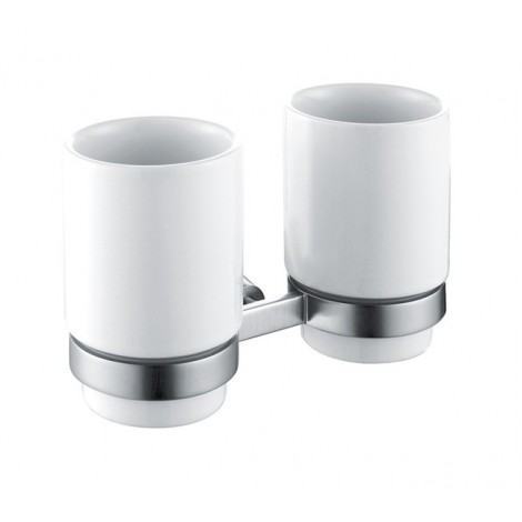 Discontinued-Amnis Bathroom Accessories - Wall-mounted Double Ceramic Tumbler Holder