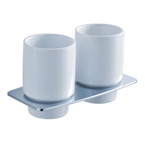 Discontinued-Fortis Bathroom Accessories - Wall-mounted Double Ceramic Tumbler Holder