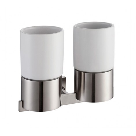 KRAUS Aura Bathroom Accessories - Wall-mounted Double Ceramic Tumbler Holder