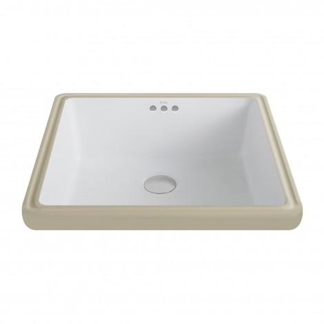 KRAUS Elavo™Square Ceramic Undermount Bathroom Sink in White with Overflow