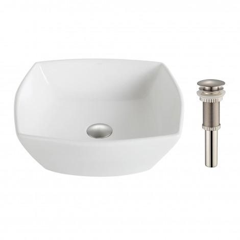 KRAUS Elavo™ White Ceramic Flared Square Vessel Bathroom Sink