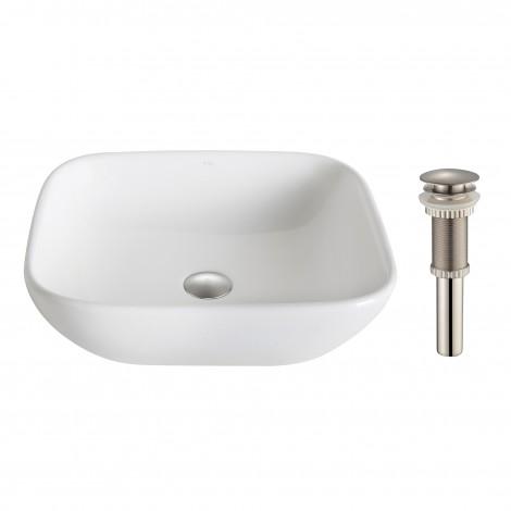 KRAUS Elavo™ White Ceramic Soft Square Vessel Bathroom Sink