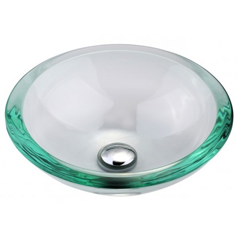 Clear 34mm edge Glass Vessel Bathroom Sink with Optional Pop-up and Mounting Ring