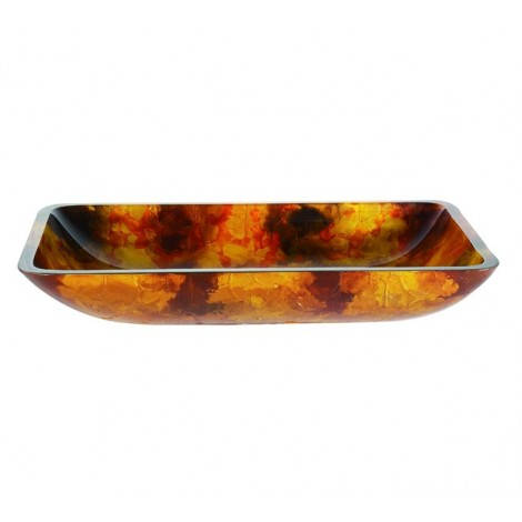 Discontinued-Amber Rectangular Glass Vessel Bathroom Sink with Optional Pop-up