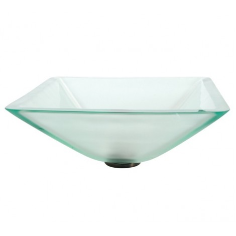 Discontinued-Aquamarine Square Frosted Glass Vessel Bathroom Sink with Optional Pop-up and Mounting Ring