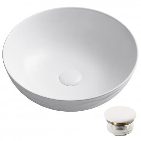 """Round Vessel 16 1/2"""" Ceramic Bathroom Sink in White w/ Pop Up Drain"""