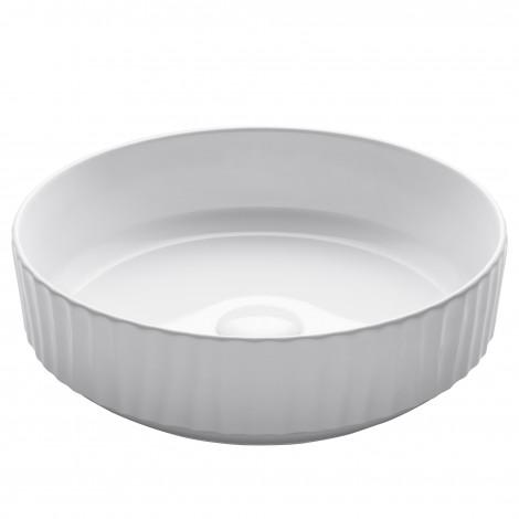 """Round Vessel 16 1/2"""" Ceramic Bathroom Sink in White"""